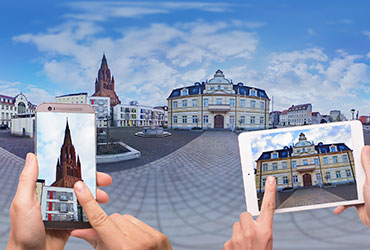 Smartphone and tablet with city view